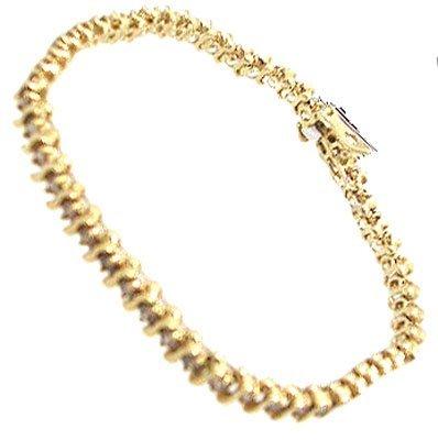3112: 14KY 4ct Champagne Diamond S-Link Style Bracelet