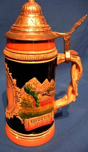 3122: Porcelain DRM Figural German Beer Stein
