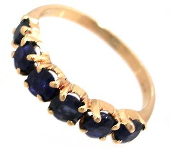 4: 14KY .60cttw Sapphire Round Line Band Ring