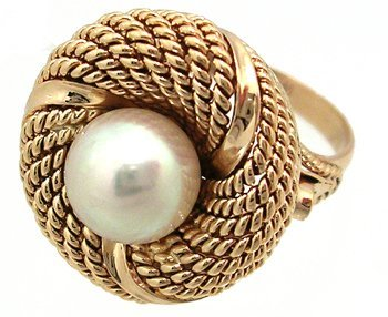 12: 14KY Estate Pearl Rope Swirl Ring