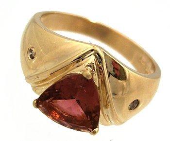 27: 14KY 1.50ct Pink Tourmaline Trillion Dia Gypsy Ring