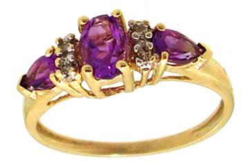 1804: 10KY .30cttw Amethyst oval/pear Diamond Ring