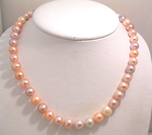 1808: 14KY 9mm Pink Purple Pearl Necklace Pearl Toggle