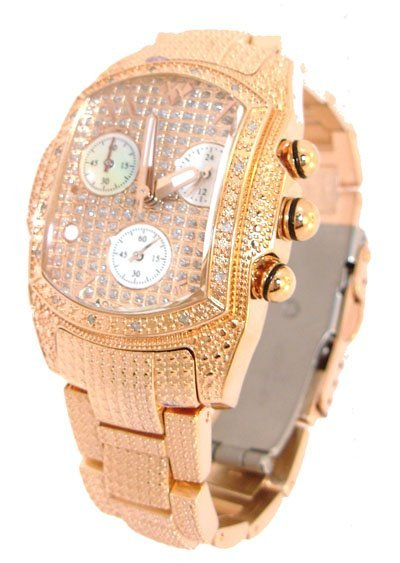 1819: Aqua Master Rose tone .50ct Diamond MOP Chrono Wa