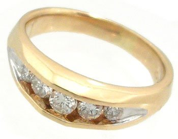1823: 14KY .50cttw 5 diamond channel mans ring