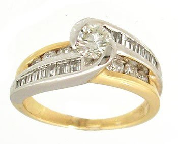 1824: 14KY 1ct Diamond rd Bagg/Rd channel 2tone Ring