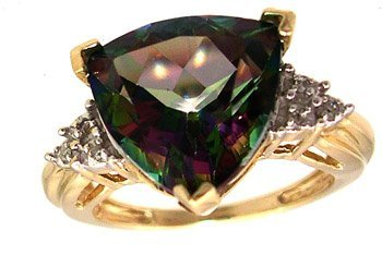 1826: 10KY 7ct Mystic Fire Topaz Trillion Diamond Ring