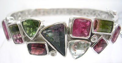 1959: 14KW 14.92ct Multi-Tourmaline Aquamarine Bracelet