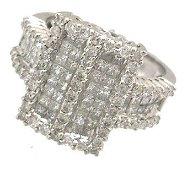1968: 18KW HUGE 1.74ct Diamond Princess Rd Invisible Se