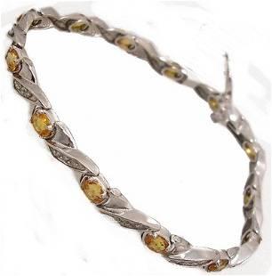 14KW 4.10cttw Yellow Sapphire .40cttw Dia Bracele