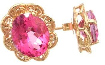 14KY 5ct Pink Topaz Oval Aztec Earring