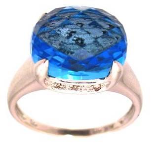 14KW 2.5ct Blue Topaz Checkerboard Diamond Ring