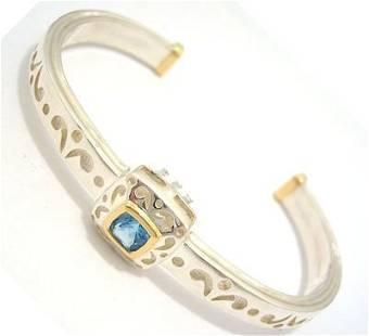 SSilver/18KY 1ct Princess Blue Topaz Designer Bra