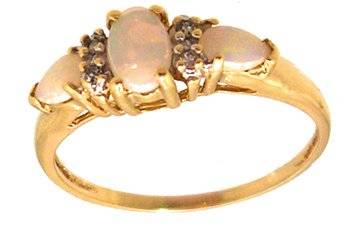 10KY .30cttw Opal oval/pearl Diamond Ring