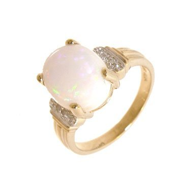 1112: 14KY 2.19ct Broad Flash Opal Oval Dia Ribbed Ring
