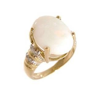 14KY 4.81ct Broad Flash Opal Oval Pave Diamond Ri