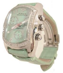 Aqua Master Silver .65ct Dia MOP Green Watch