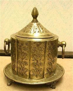 Silver Plated Muslim Tea Caddy w/ 2 Ring Holes