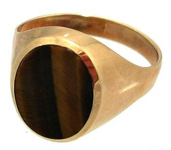 10KY Tigers Eye Oval Mens Ring 3.4gm