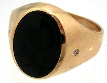 10KY Onyx Oval Diamond Cameo Mens Ring 5.7gm