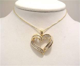 14KY .50cttw Diamond bagg/rd Heart Pendant/CH