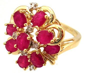 1303: 14KY 1cttw Ruby 9 oval Diamond cluster ring