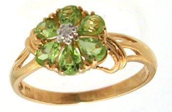 1307: 14KY 1cttw Peridot Pear Diamond Flower Ring