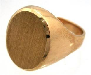 10KY Signet Oval Mens Ring 6.7gm