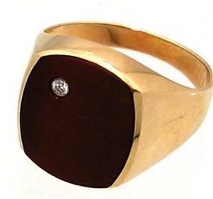 10KY Tigers Eye Diamond Mens Ring 4.3gm