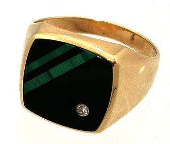 1312: 10KY Onyx Malachite Diamond Square Mens Ring 4.7g