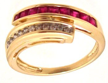 1315: 14KY .62ct Ruby Princess Diamond Channel Bypass R