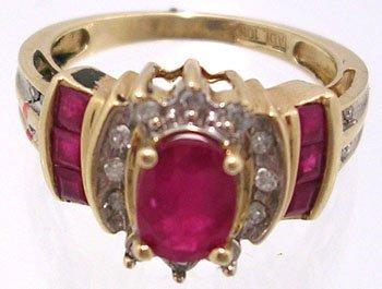 1316: 10KY 1.5cttw Ruby Oval Princess Diamond Ring