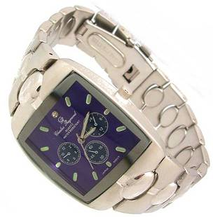 CharlesRaymondSilver Color Blue Dial Square Watch