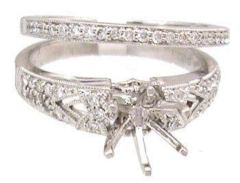 1440: 14KW .30cttw Diamond Semi Mount Ring