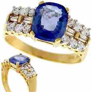 2.21ct Ceylon Sapphire .39ct dia band ring