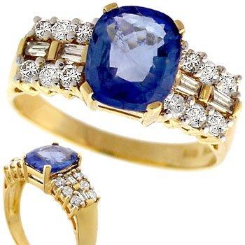 3005: 2.21ct Ceylon Sapphire .39ct dia band ring