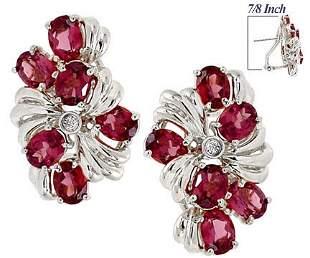 WG 6ct Rhodolite Garnet 6 oval dia earring
