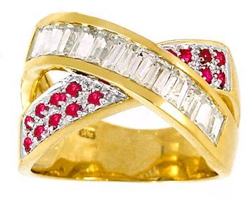 3012: 1.53cttw White Sapphire Pink Sapphire X ring