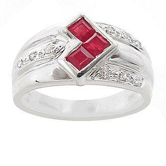 3013: WG .65ct ruby princess cut channel dia ring