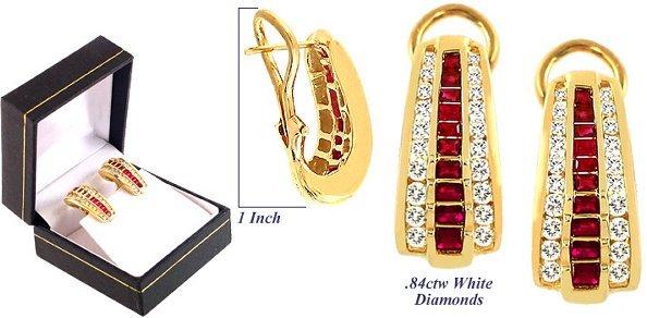 3016: 18YG 1.84cttw Ruby and diamond omega Earring