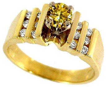 3023: .39ct Golden Yellow Diamond .30ct Dia ring