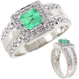3036: WG .60ct Columbian Emerald square .29dia ring