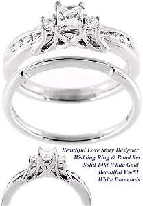 3055: WG .64ct VS/SI princess Diamond wedding ring