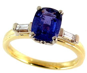 3080: 18YG/Plat 1.88ct Sapphire .25ct diamond ring