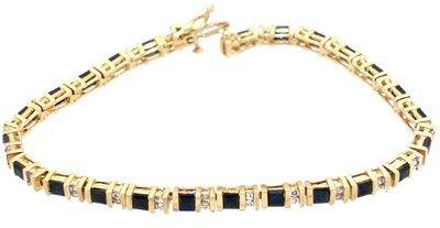 803: 14KY 4cttw sapphire square .50ct diamond Bracelet