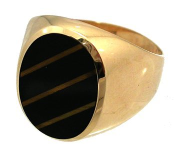 805: 10KY Onyx OvalTigers Eye Mens Ring 5.8gm