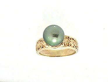 808: 14KY 9.5m Tahitian PEARL diamond Mini Crown Ring