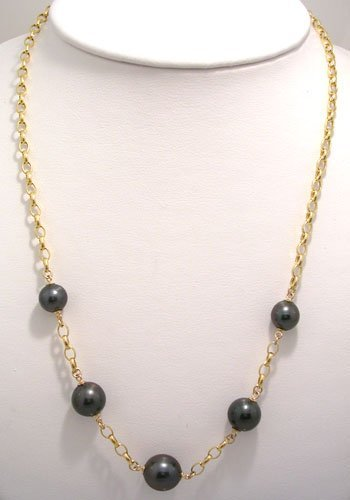 809: 14KY 9.3/11.7m Tahitian 5 pearl Rolo Necklace