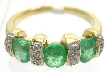 812: 14KY 1.14cttw Emerald .10cttw Diamond 3-Stone Ring
