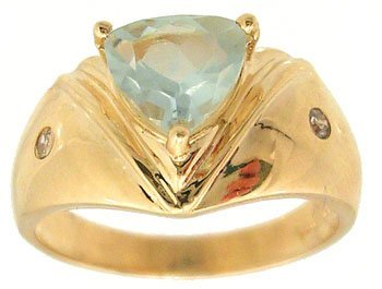826: 14KY 1.05ct Aquamarine Trillion Diamond Band Ring